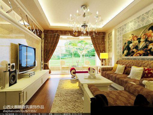 简欧风格客厅 电视背景墙 效果图大全2013图片
