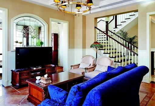 美式田园风格复式楼 客厅装修 效果图 hao