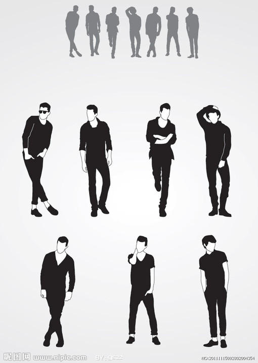 男模特时尚男士剪影矢量图