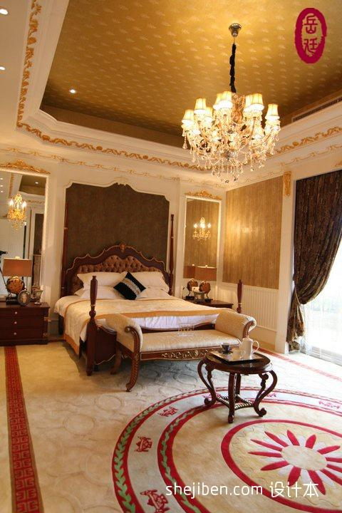 欧式风格时尚奢华别墅主人卧室床头背景墙落地窗窗帘