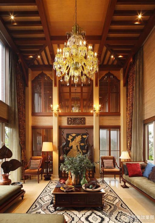 美式别墅客厅吊灯效果图 图片 hao123导